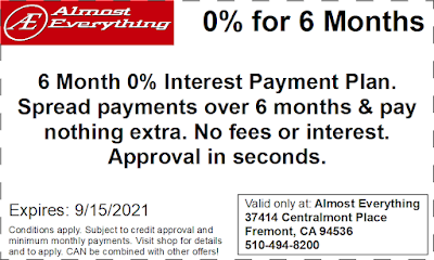 Coupon 6 Month Interest Free Payment Plan August 2021