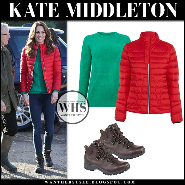 Kate Middleton in red puffer perfect moment jacket, green sweater and skinny jeans. Duchess of Cambridge Holiday casual style december 4