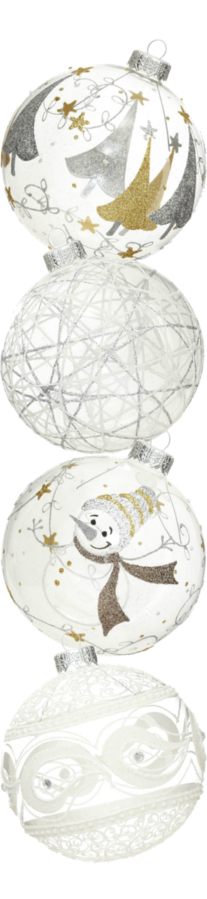 Andrey Filatov Assorted Christmas Glass White Ornaments