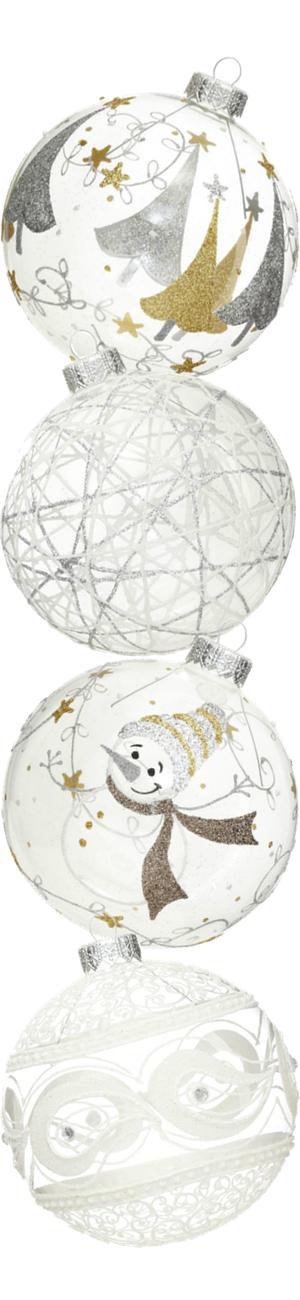 Andrey Filatov Assorted Christmas Glass White Ornaments