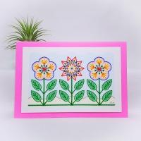 Row of three flowers modern print, prick stitch on card embroidery pattern.