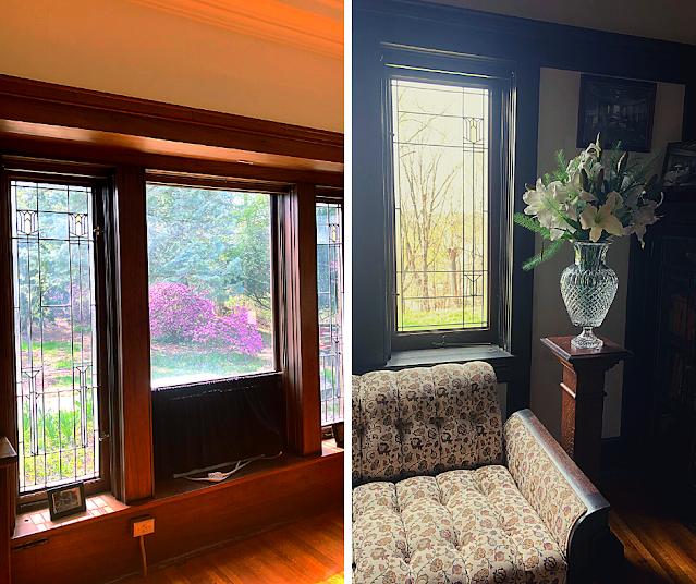 Prairie style art glass windows highlight the nature outdoors.
