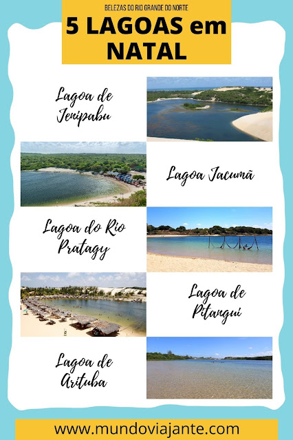 template de 5 fotos de lagoas com as legendas ao lado