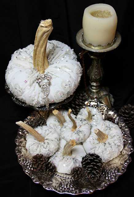 Velvet pumpkins, silk pumpkins, Halloween Wedding Ornate Splendor