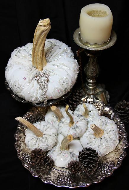 Velvet pumpkins, silk pumpkins, Halloween Wedding Ornate Splendor