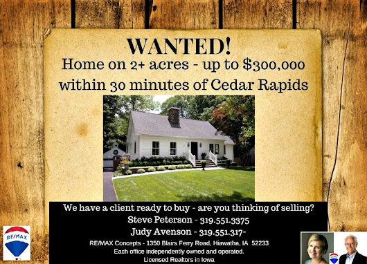 Wanted: Home on 2+ Acres Within 30 Minutes of Cedar Rapids