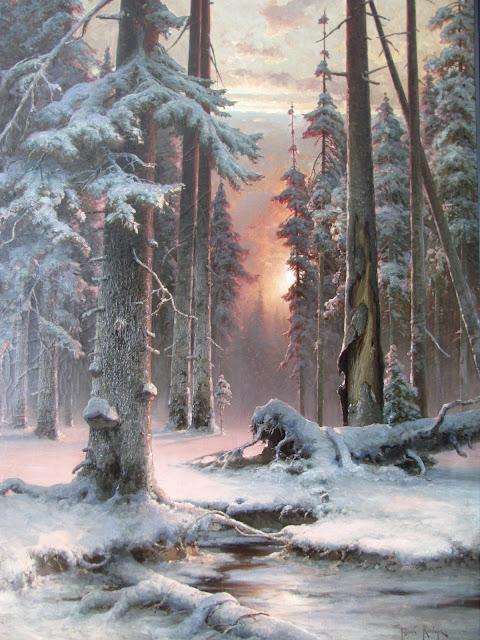"""Художественный музей в Иркутске - Ю. Клевер """"Закат в еловом лесу"""""""