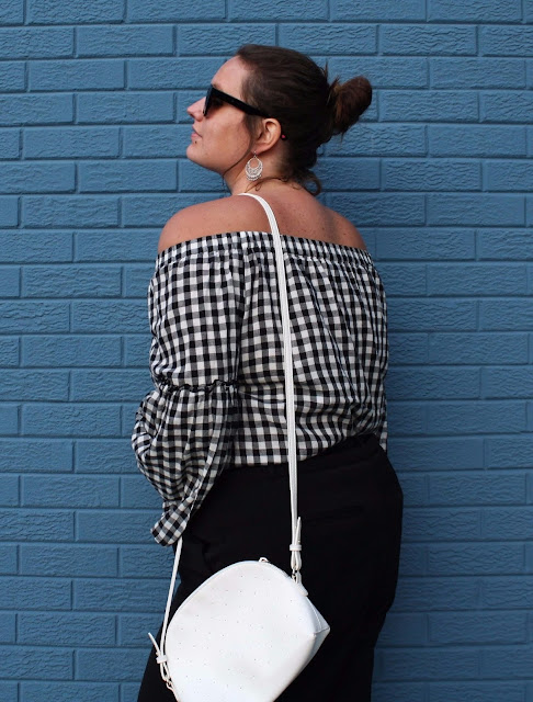 2017 fashion fall gingham off the shoulder bell sleeves In Kinsey's Closet plus size fashion blogger