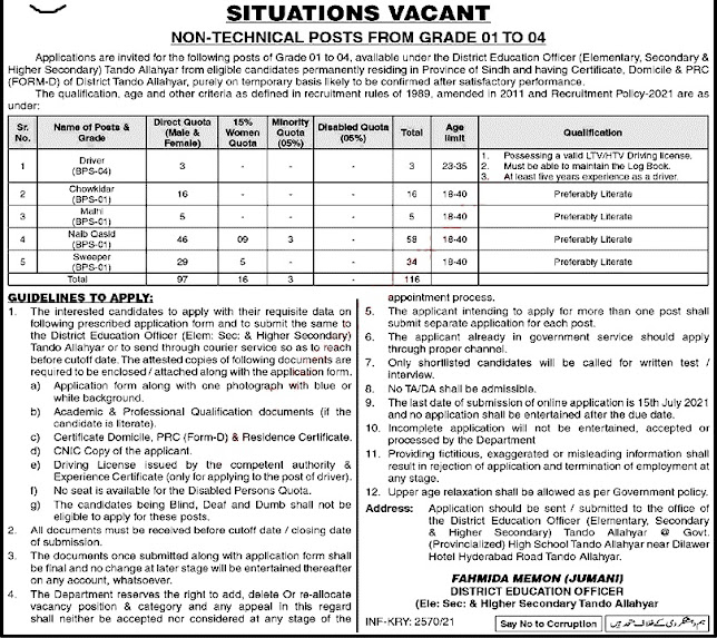Education Department Latest Jobs For Naib Qasid, Driver, Mali, & Other