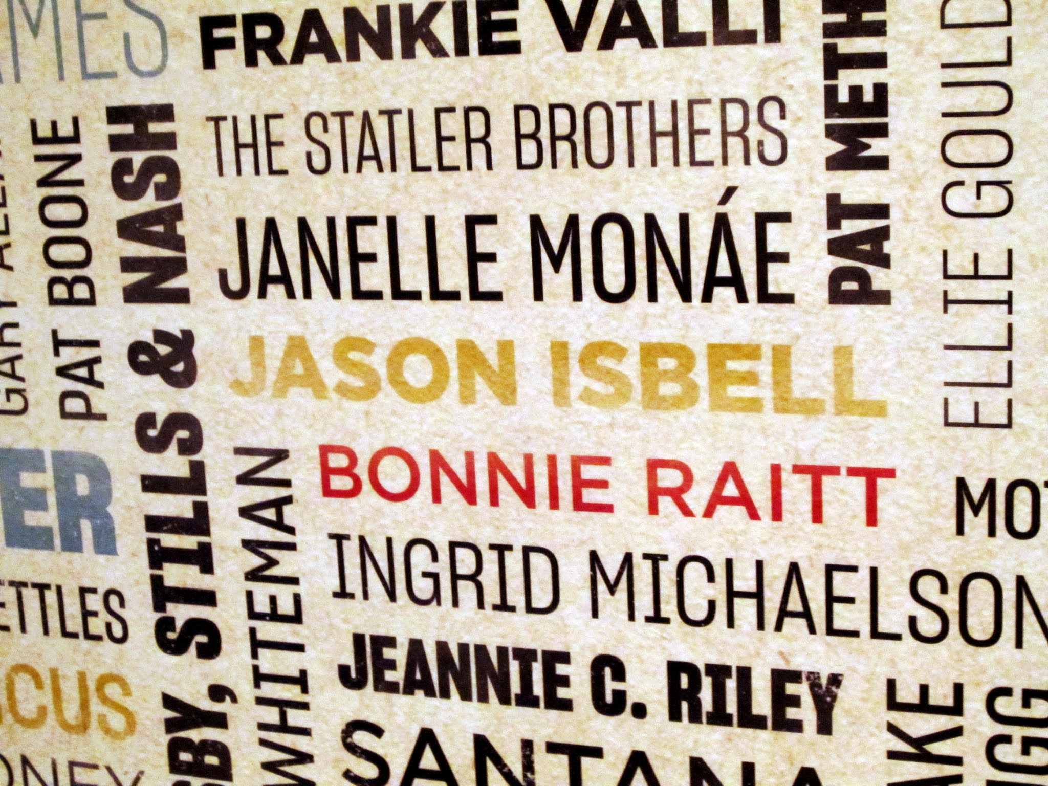 Artwork on the wall at the Ryman Auditorium displaying artists who have played at the venue