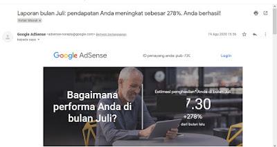 Estimasi Penghasilan Google Adsense Bulan Juli Naik 278%