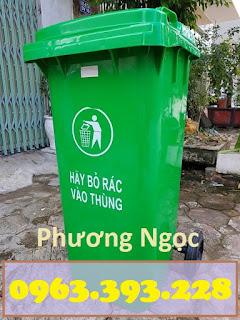Thùng đựng rác công cộng 120L, thùng rác 2 bánh xe, thùng rác nhựa HDPE 120 Lít TR120L6