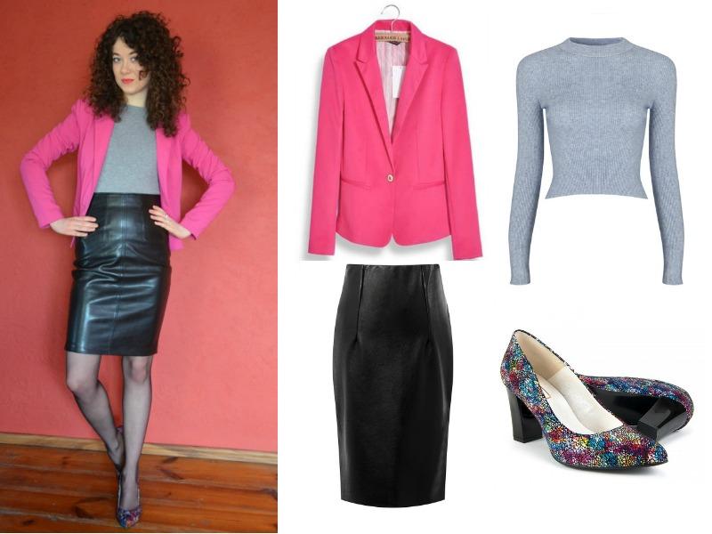 jak sie ubrać, skórzana spódnica, stylizacja do pracy, różowy żakiet