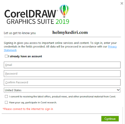 menghilangkan form signing account dicoreldraw