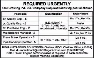 Fast Growing Pvt. Ltd. Company Required ITI/ 10th / 12th / Diploma Candidates at Chakan, Maharashtra