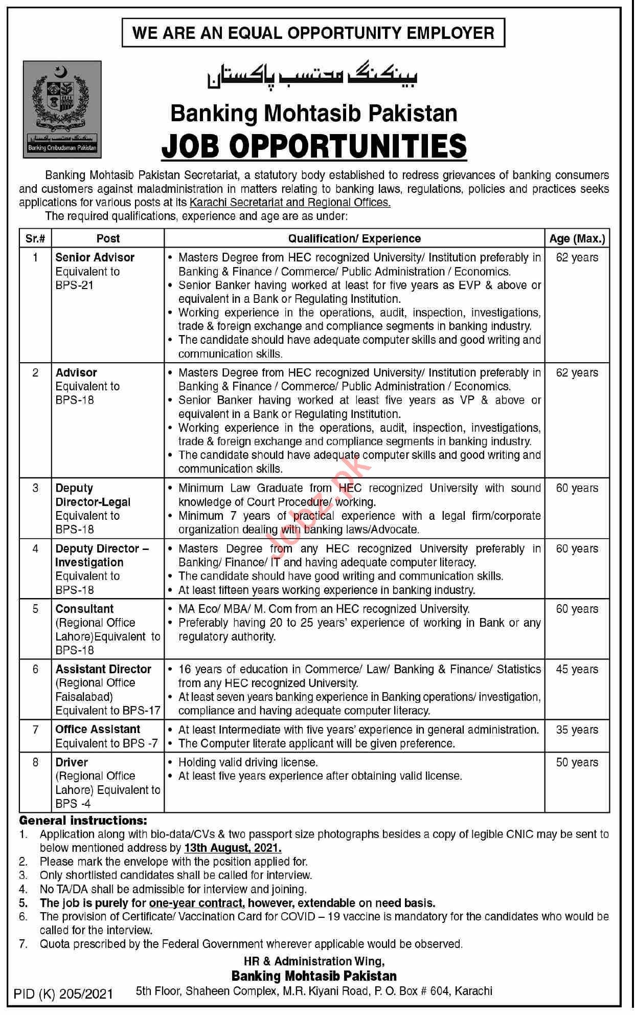 Jobs in Banking Mohtasib Pakistan