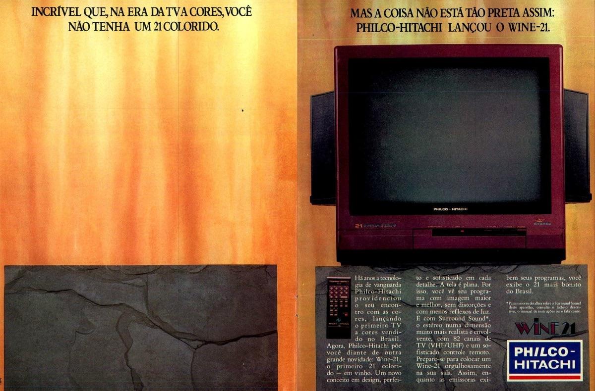 Anúncio de 1990 promovia o aparelho de TV da Philco-Hitachi na cor vinho