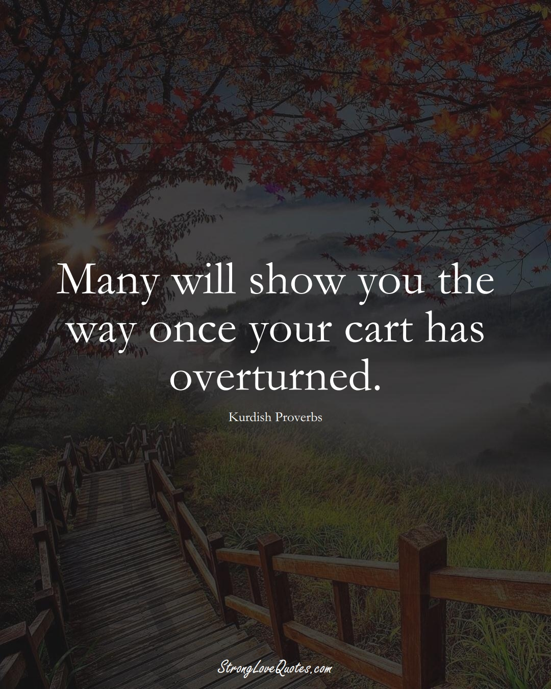 Many will show you the way once your cart has overturned. (Kurdish Sayings);  #aVarietyofCulturesSayings