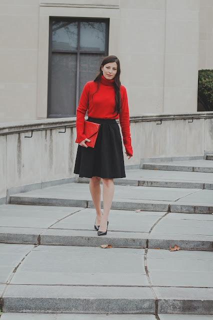 red turtleneck, holiday party outfit