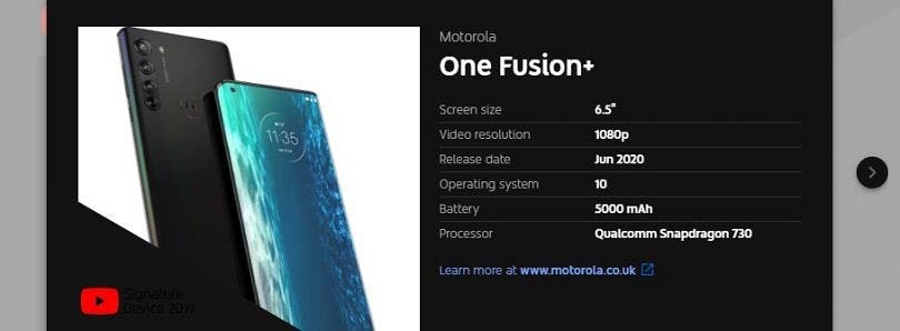 Motorola is preparing to announce the ONE FUSION PLUS phone in June