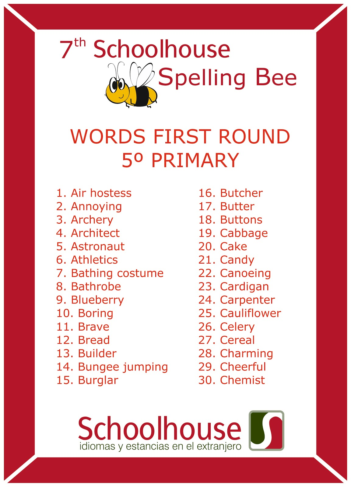 Spelling Bee Words For Grade 1