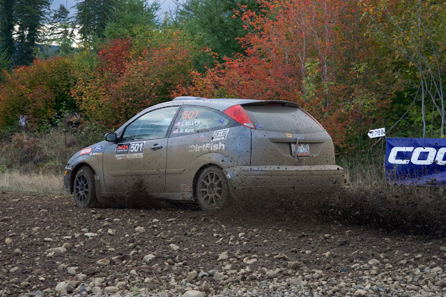 Ford Focus rally car spraying gravel