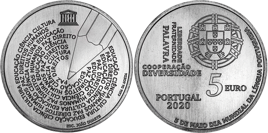 Portugal 5 euro 2020 UNESCO World Portuguese Language Day