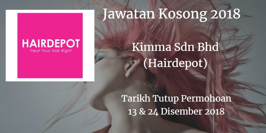 Jawatan Kosong Kimma Sdn Bhd (Hairdepot) 13 January 2019