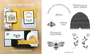 Stampin' Up! Honey Bee Card Kit  ~ 2020 Spring Mini Catalog ~ Stamp of the Month Club Card Kit ~ www.juliedavison.com