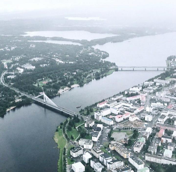 Finlandiya'nın kuzeyinde yer alan Rovaniemi şehrinin kuş bakışı manzarası