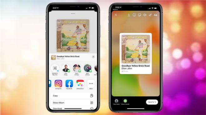 iPhone 可在 FB 和 IG 限時動態分享音樂歌曲