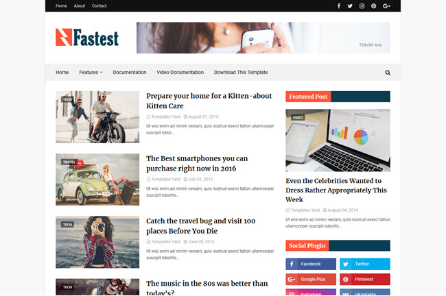 Fastest - Responsive Blogger Template