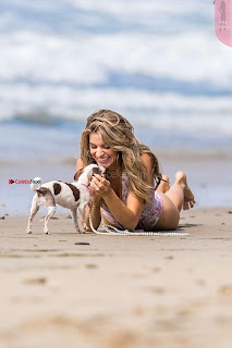 Rachel McCord In Swimsuit seen on the beach with her dog 022 ~ Celebs.in Exclusive