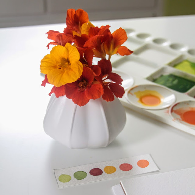 watercolor, paint palette, paint swatches, Nasturtiums, Anne Butera, My Giant Strawberry