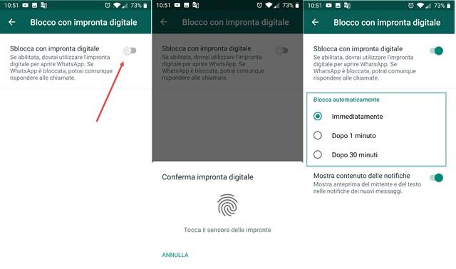 blocco di whatsapp con impronta digitale