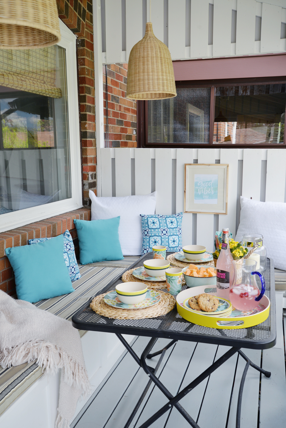 Rambling Renovators | tropical decor, outdoor porch, blue white rattan decor