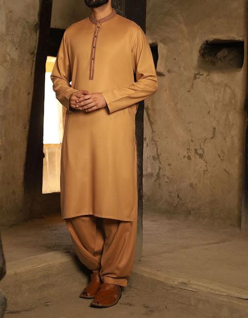 J. Jamshed winter khaki color kameez shalwar men collection