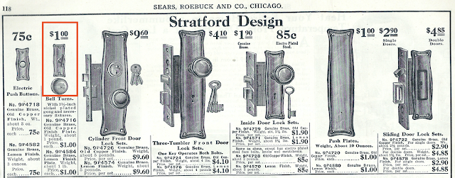 vintage door hardware on Sears house