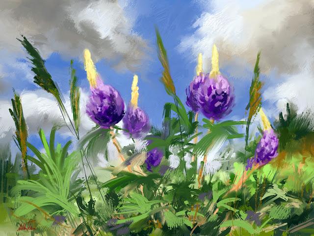 Summertime, Digital landscape speedpainting of flowers by Mikko Tyllinen