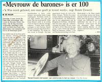 Barones Renée Duwelz bleef ongehuwd en doet haar verhaal toen zij honderd jaar oud geworden was