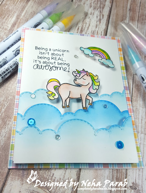Being Awesome Card by August Guest Designer Neha Parab | Believe in Unicorns Stamp Set by Newton's Nook Designs #newtonsnook