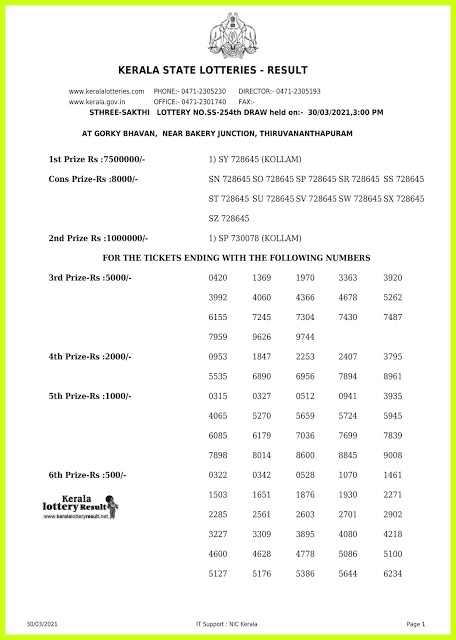 Kerala Lottery Result Today Live 30.03.2021 | STHREE SAKTHI Lottery Result SS 254 Lottery Result