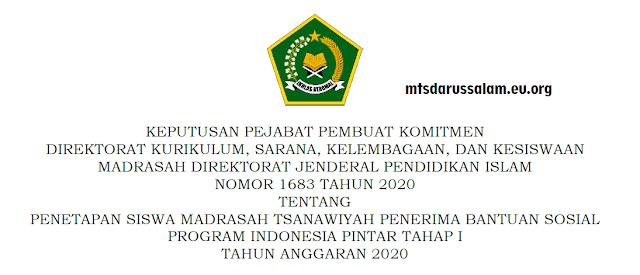 SK Dan Lampiran Penerima PIP Tahap I Tingkat MTs Jawa Timur Tahun Anggaran 2020