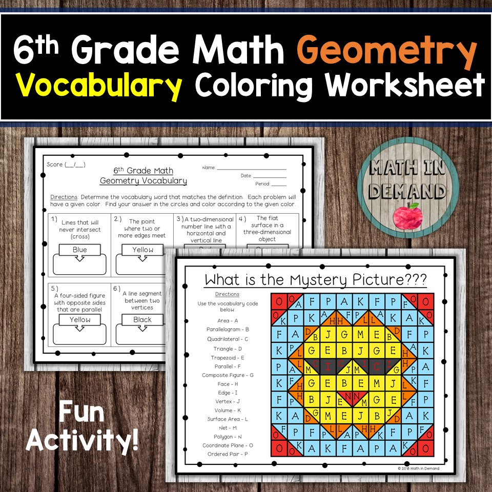 6th grade math vocabulary coloring worksheets math in demand. Black Bedroom Furniture Sets. Home Design Ideas