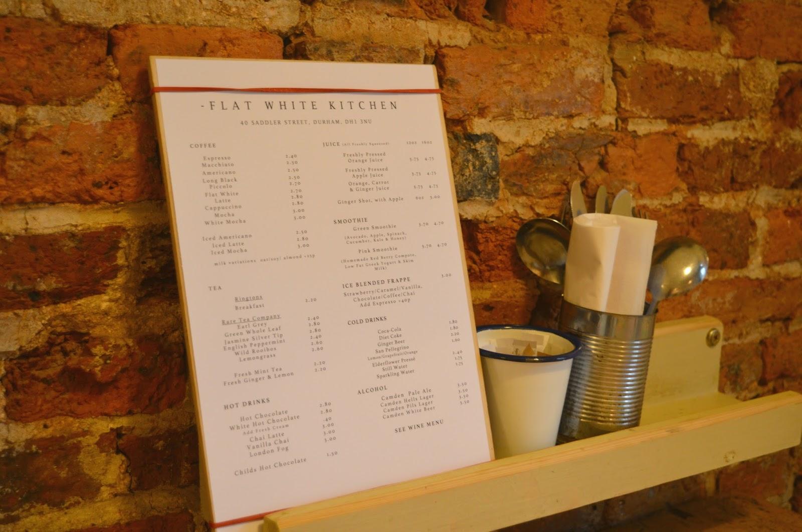 Flat White Kitchen, Durham - Menu