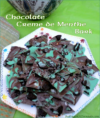 Chocolate Crème de Menthe Bark is easy to make using just a microwave, for St. Patrick's Day fun, or any day you want to share a chocolate mint treat. | Recipe developed by www.BakingInATornado.com | #recipe #chocolate