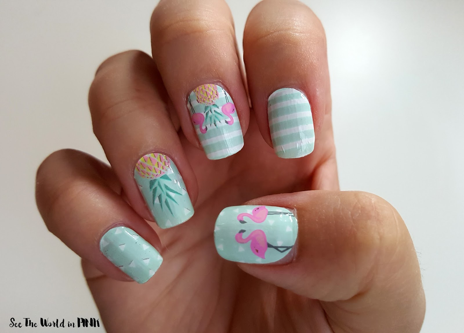 Manicure Tuesday - Go Scratch It Flamingo and Pineapple Nail Wraps