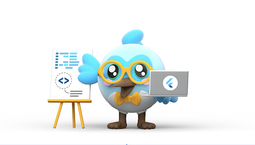 Image of Flutter Bird holding a laptop while standing in front of a presentation board
