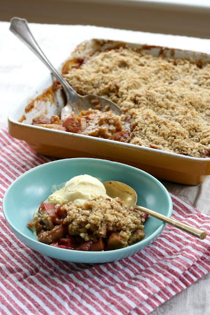Whole Grain Ginger Rhubarb Crisp is just sweet enough.