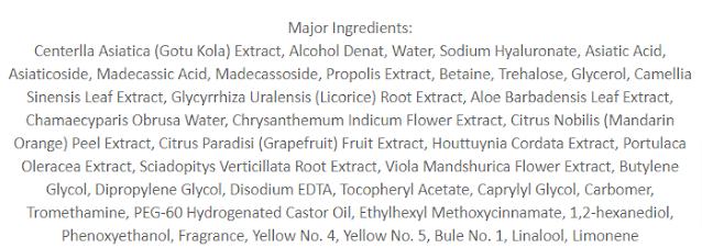 VT Cosmetics Cica Smoother Ingredients